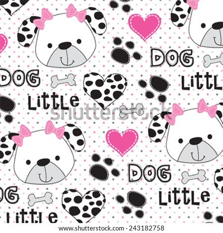 childish pattern with dalmatian dog vector illustration - stock vector