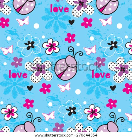 childish pattern with ladybug, butterfly, flower vector illustration - stock vector