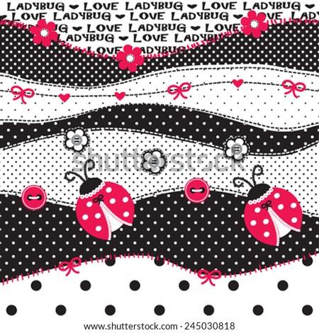 childish pattern with ladybug vector illustration - stock vector