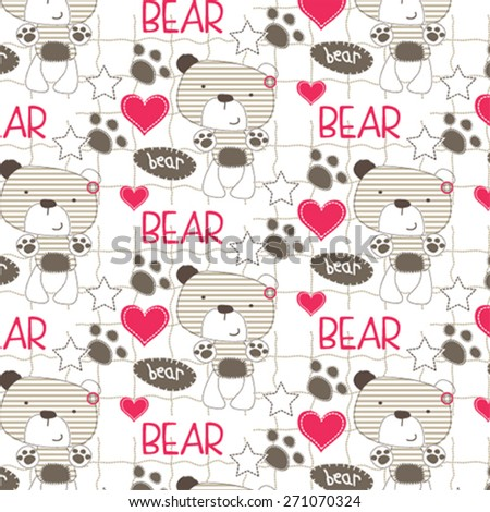 childish pattern with teddy bear vector illustration - stock vector