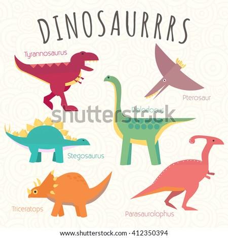 Childish poster with set of dinosaurs: tyrannosaurus, pterosaur, stegosaurus, diplodocus, triceratops, parasaurolophus. Cute vector illustration. Cartoon dinosaur characters. Isolated on background.  - stock vector