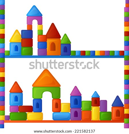 Childish seamless pattern with colorful building kit