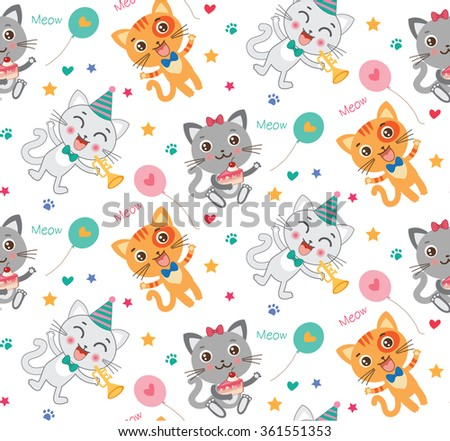 Childish Seamless Pattern With Cute Cats. Colorful  Birthday Kids Background In Vector.