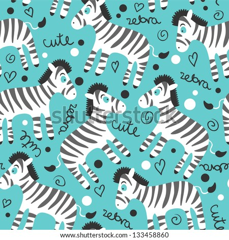 Childish seamless pattern with cute zebras - stock vector