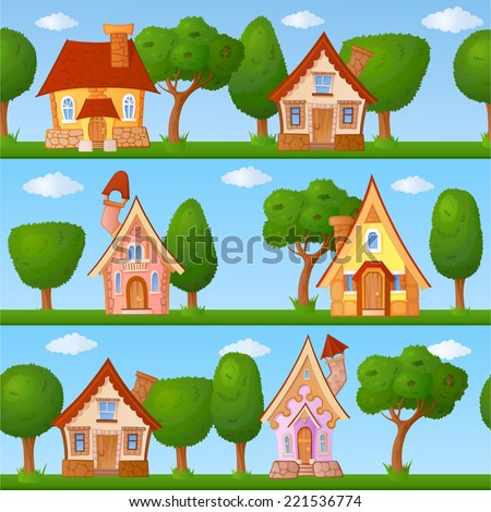Childish seamless pattern with little houses and trees - stock vector