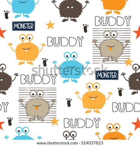 childish seamless pattern with monsters vector illustration