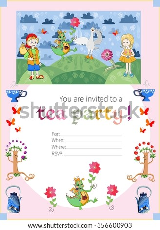 Childish tea party invitation with fairyland. Cute vector template.