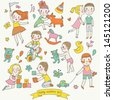 Childish vector set in cartoon style. Funny boys and girls playing with toys, riding a bicycle and playing with pets. Cute cartoon vector elements in bright colors  - stock vector