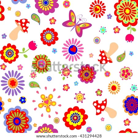 Childish wallpaper with colorful abstract flowers and mushrooms - stock vector
