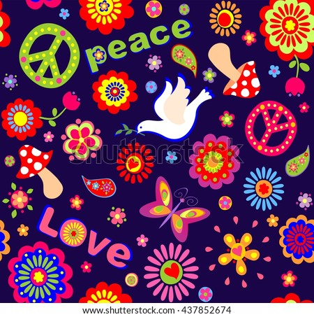 Childish wallpaper with colorful abstract flowers, hippie symbolic, mushrooms and dove
