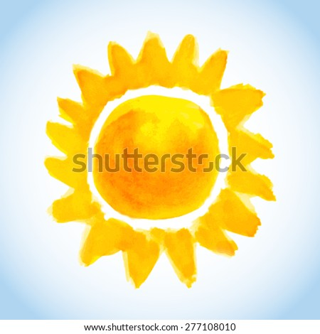 childish watercolor sun on blue sky background - stock vector