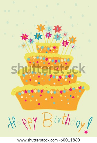 childlike birthday cake - stock vector