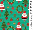 childlike christmas pattern. vector illustration - stock vector