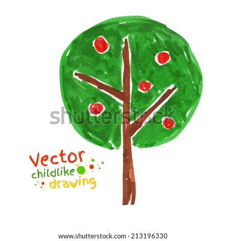 Childlike drawing of apple tree. Vector illustration. Isolated. - stock vector