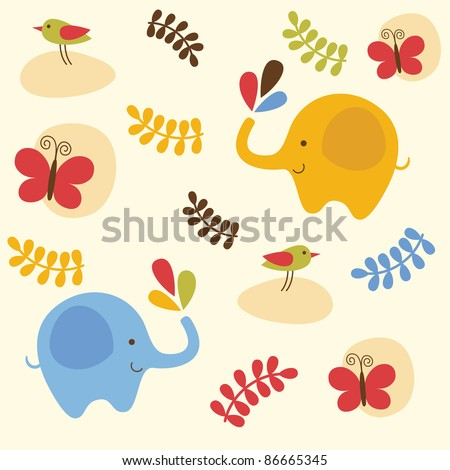 childlike pattern with cute elephant. vector illustration - stock vector