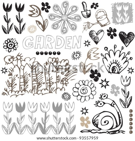 childlike sketchy icons, hand drawn design elements, funny doodle set - stock vector