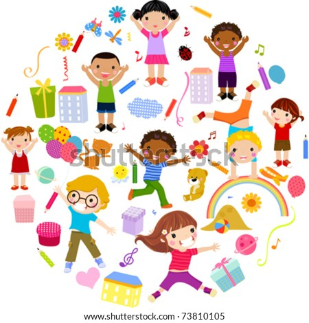 children - stock vector