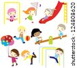 children actively playing in playground isolated - stock vector