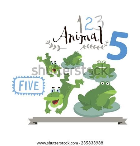 Children alphabet of animals and figures. Number five. Vector illustration. Part of a large set of vector numbers and animals - stock vector