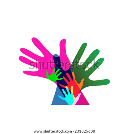 children and adults hands together, no transparencies - stock vector