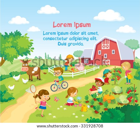 children and animals in the farm - stock vector