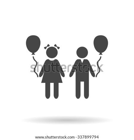 Children and Balloon. Icon Vector - stock vector