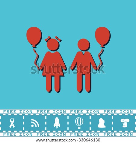 Children and Balloon. Red flat symbol with dark shadow and bonus icon. Simple vector illustration pictogram on blue background - stock vector