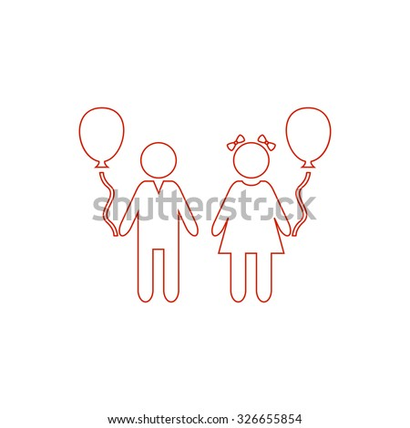 Children and Balloon. Red outline vector pictogram on white background. Flat simple icon - stock vector