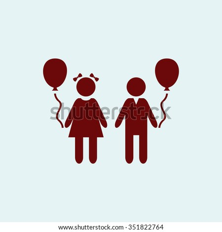 Children and Balloon. Red vector icon. Simple modern illustration pictogram. Collection concept symbol for infographic project and logo - stock vector