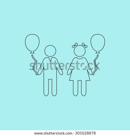 Children and Balloon. Simple outline flat vector icon isolated on blue background - stock vector