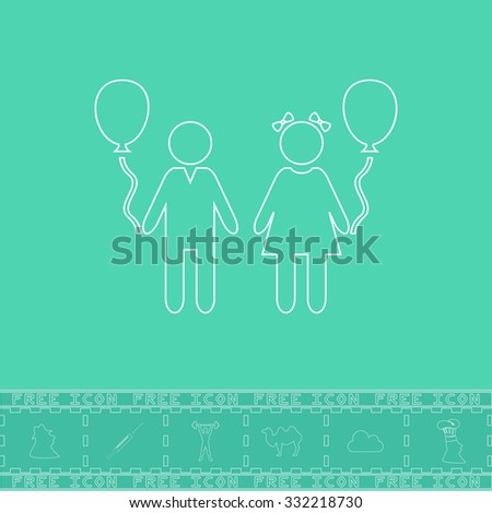 Children and Balloon. White outline flat symbol and bonus icon. Simple vector illustration pictogram on green background - stock vector