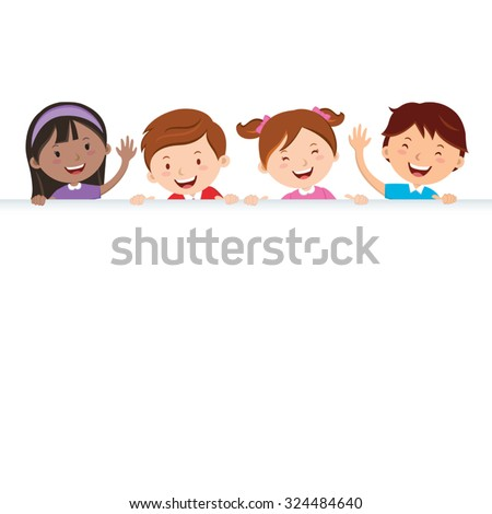 Children and banner. Multicultural kids holding blank banner. - stock vector