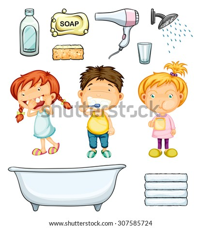 Children and bathroom set illustration