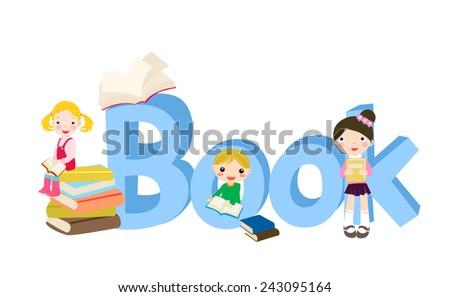 children and book - stock vector