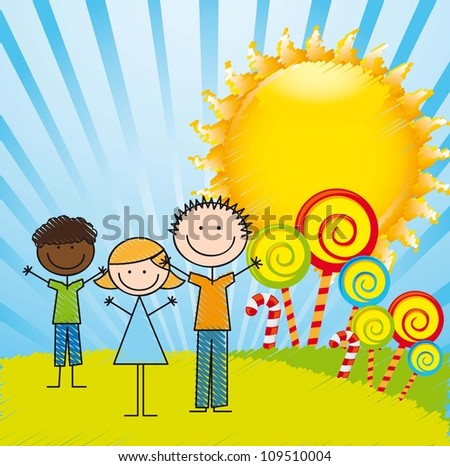 children and candies drawing with sun, background. vector illustration - stock vector