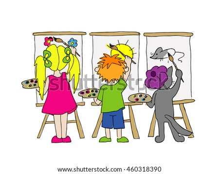 children and cat paint