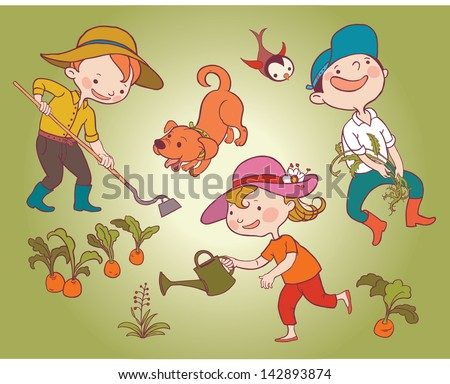 Children and dog working in a vegetable garden. Children summer activity ideas.Children illustration for School books and more. Separate Objects. - stock vector