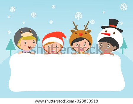 children and greeting Christmas and New Year card, kids peeping behind placard, kids in Christmas costume characters celebrate, Cute little christmas Children's collection, happy new year, Vector  - stock vector