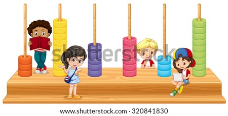 Children and math game illustration - stock vector
