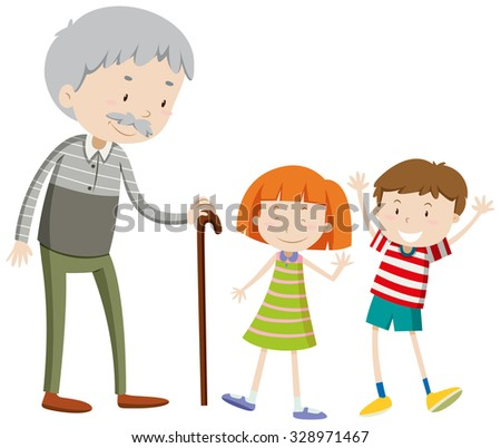 Children and old man illustration