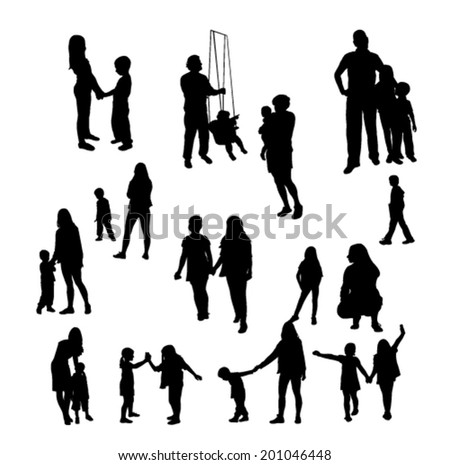 Children and people silhouettes - vector - stock vector