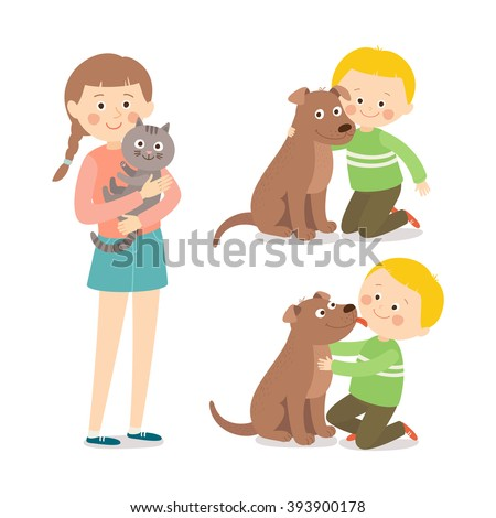 Children and pets. Child lovingly embraces his pet dog. Little dog licking boy's cheek. Teenage girl with her cat. Best friends. Cartoon vector clip art illustration on white background. - stock vector