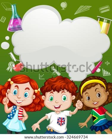 Children and science symbols illustration - stock vector