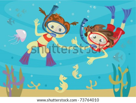 children and the sea - stock vector