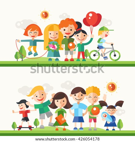 Children and their hobbies and activities - modern vector flat design characters compositions set. Boys and girls on bicycle, skate board, jumping, playing, having fun outdoors - stock vector