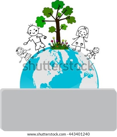 Children and trees on the planet Earth
