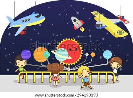 Children are having an educational study at the science physics and astronomy and invention museum, create by vector  - stock vector