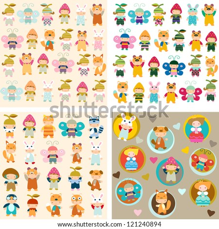 children  are in the suits of beasts - stock vector