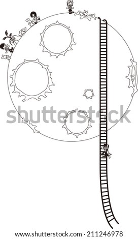 Children are on the moon. Rabbits are living on there. - stock vector