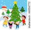 children around a beautiful, festive Christmas tree - stock vector